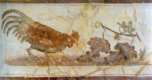 Священый петух на древней фреске в Италии.