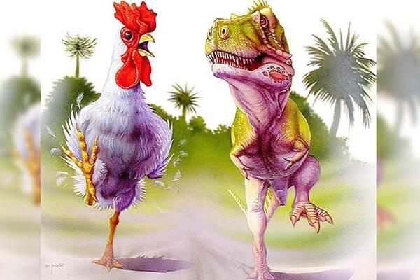 Курица динозавр или кудахтающий курозавр T-Rex.
