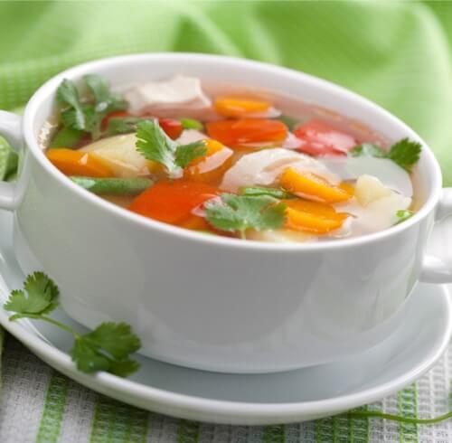 Весенний суп с фрикадельками из курицы.