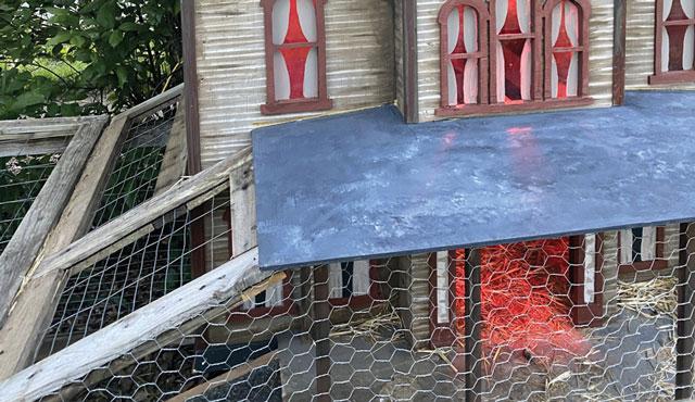 Курятник дом Адамса в готическом стиле для декоративных кур.