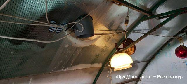 Труба в курятник из дома для отопления зимой, нагнетая воздух.